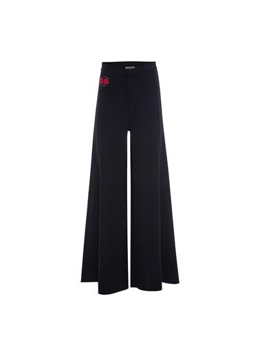 Vekem-Limited Edition Çiçek Nakışlı Geniş Paça Pantolon Siyah